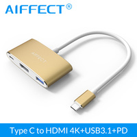 AIFFECT 4K HD USB Type C to HDMI USB3.1 PD Charge Hub TypeC Adapter USB C Converter for PC TV Projector 3in1 USB PD HDMI Adapter
