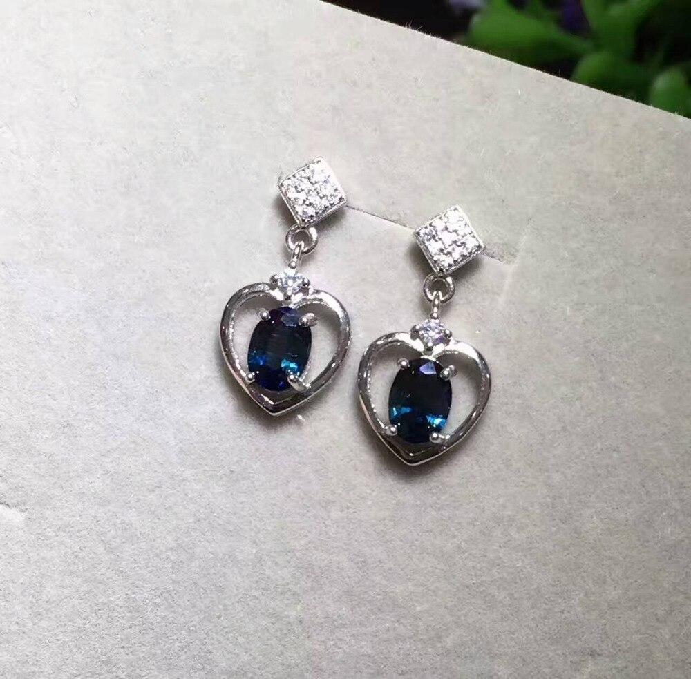 natural blue sapphire drop earrings 925 silver Natural gemstone earring Elegant romantic heart women girl earrings fine jewelry