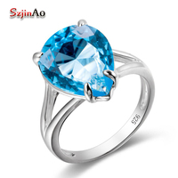 Szjinao Hot Sale White Gold Color Wedding Engagement Water Drop Ring For Women Aquamarine Jewelry Female Factory Price
