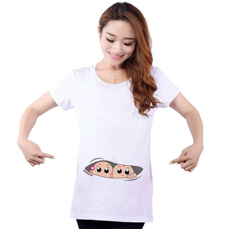 3ea0d240f Maternidad divertida Camisetas Bebé peeking gemelos impresión algodón  embarazo tops camisas de manga corta para las mujeres embarazadas verano  tops en ...