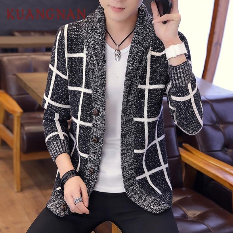 KUANGNAN Plaid Cardigan Men Sweater Knit