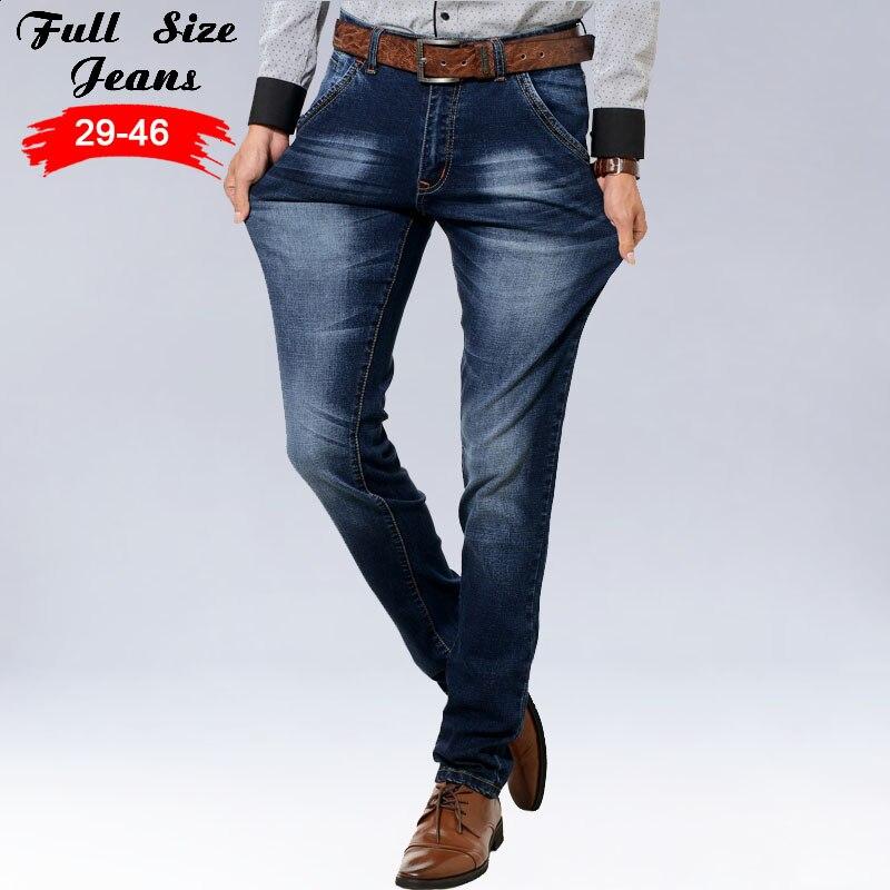 2017 Spring Autumn Plus Size Designer Blue Jeans Men Business 6xl 7XL 5XL 42 44 46 Slim Fit Straight Good Stretch Jogger Jeans смартфон highscreen fest xl pro blue