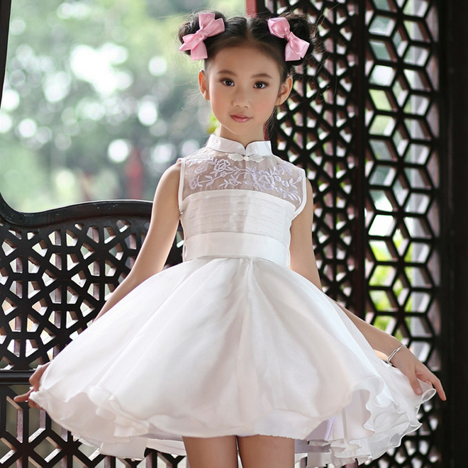 new arrival children summer white dress wedding dress kids girls tutu dresses girls performances cheongsam clothes