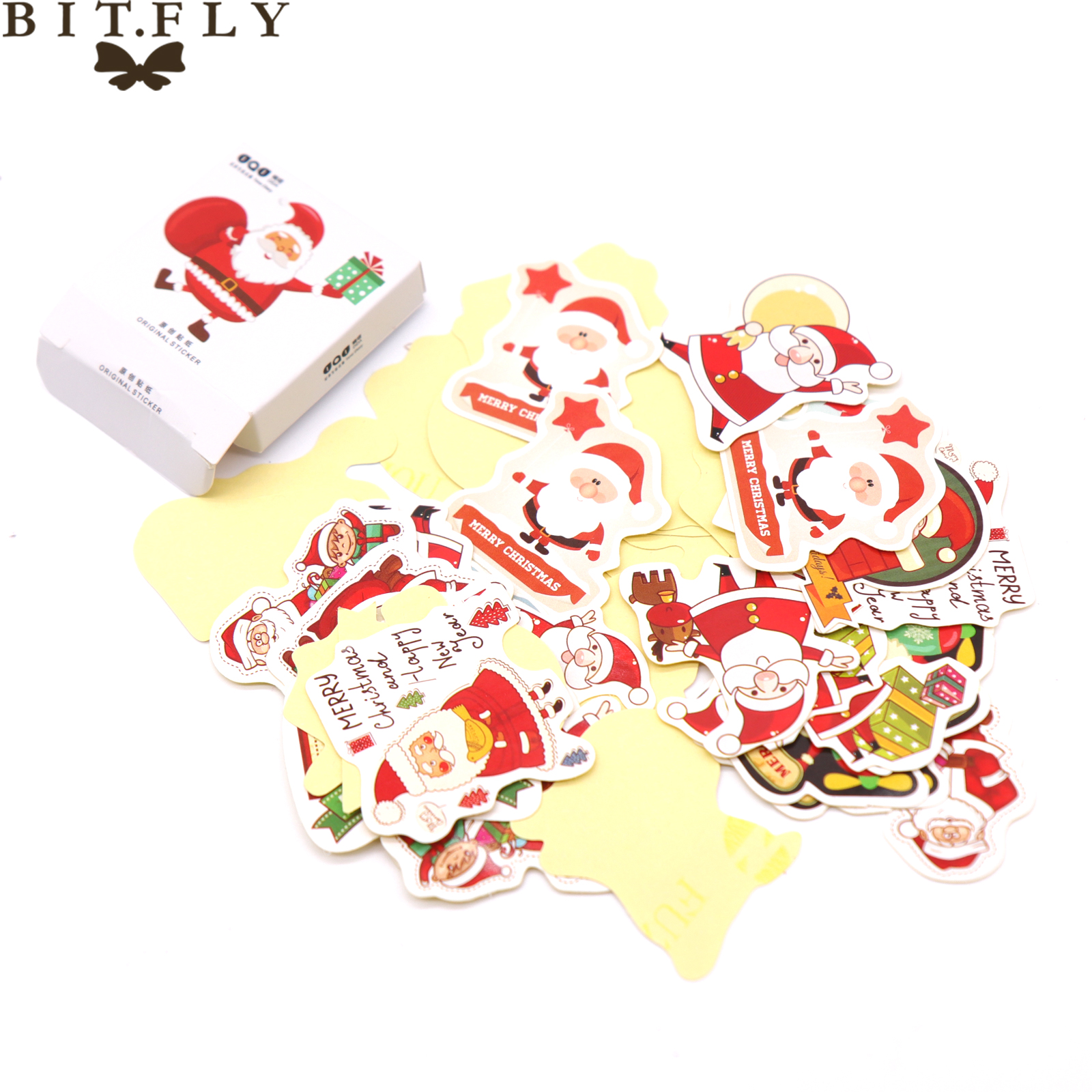 BITFLY Merry Christmas Scrapbook stickers gift box package decoration DIe cut stickers Santa ,Elk sticker New year decorations paper