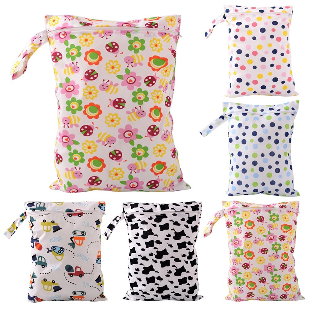 Sacos de Fraldas Do Bebê à prova d' água Saco Seco Molhado Reutilizável Bebê Fralda de Pano Lavável Com Zíper Saco De Armazenamento Tote
