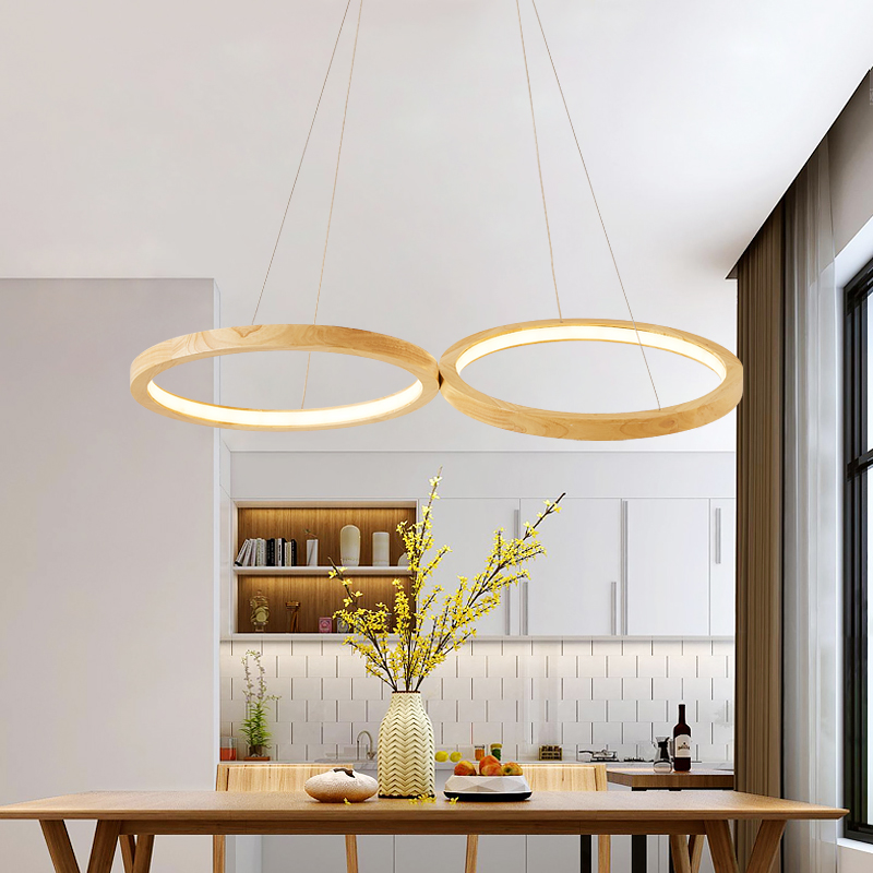 LED Pendant Lights For Dining Wooden two Rings Pendant Lamp Hotel Suspension Lamp Foyer Wood Light Hall Lighting Fixtures dero new chinese style vintage pendant lights wood and bamboo for dining room hotel hall home loft led pendant lamp light ac110v 220v