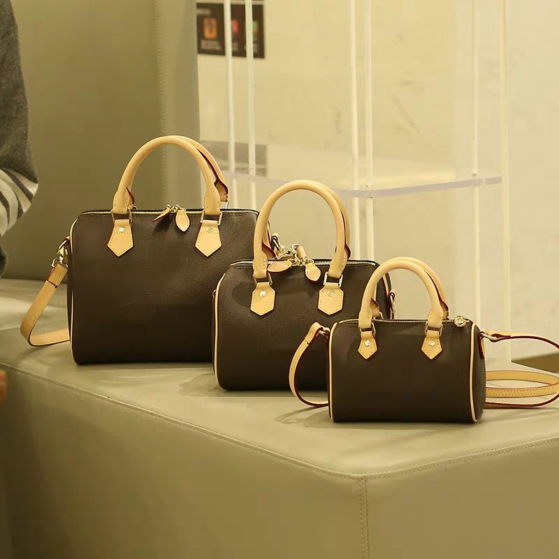 2019 Luxury Brand Speedy Bag Women Top Quality Real Leather Shoulder Monogram Travel Bag 25/30/35cm bolsa feminina2019 Luxury Brand Speedy Bag Women Top Quality Real Leather Shoulder Monogram Travel Bag 25/30/35cm bolsa feminina