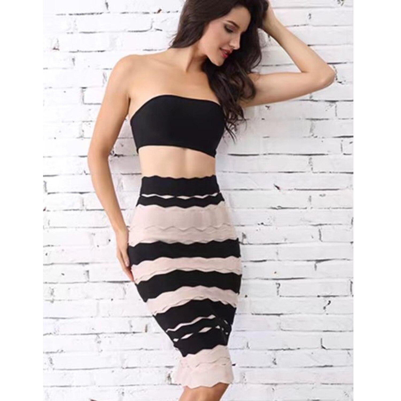 Nuevas Falda Faldas Mujeres Longitud Bodycon 2018 Volver Rodilla Partido Celebrity Zipper Vendaje Del Rayas Fq4Cxw1d
