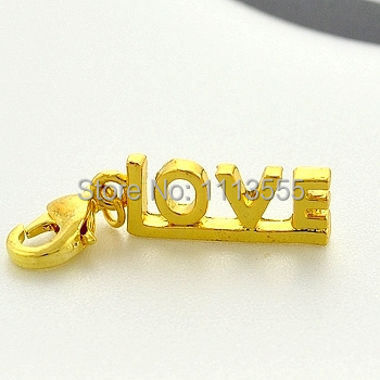 C056-1 hot sale fashion zinc alloy silver DIY Gold-plated LOVE thomas charms for 20pcs/lot Matching necklace and bracelet