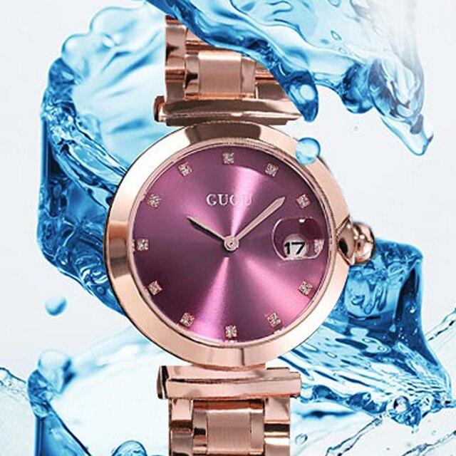 2018 Guou marca de lujo de moda Rose Gold Steel Simple Girl Bracelet Reloj  de pulsera 9795a8b52045
