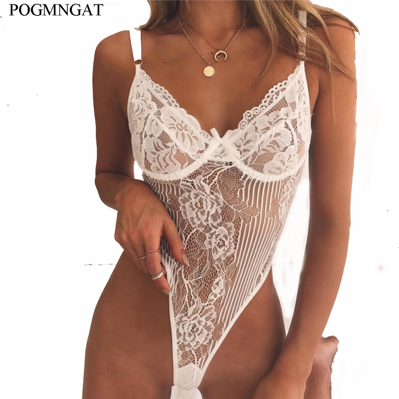 2019 Summer lace Sexy bodysuit women backless sheer Floral Embroidery Hollow Out bow black jumpsuit catsuit straps bodysuits