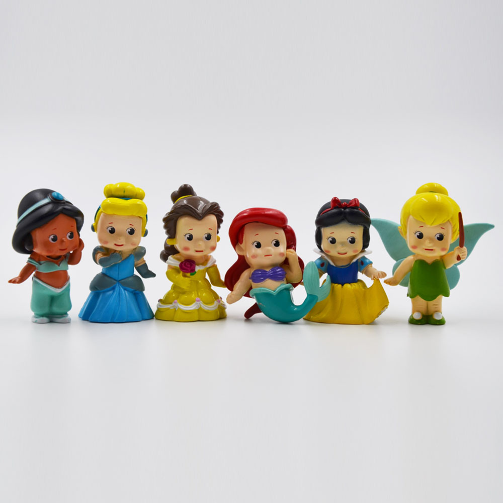 Disney Princess Hot Toys for Kids Birthday Gift Cartoon Snow White 6Pcs/Set Action Figures Dolls Car Anime Figure Juguetes Ty836 купить