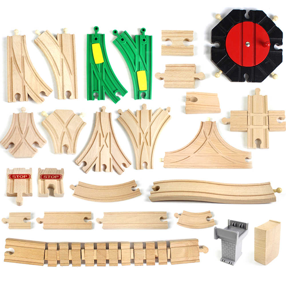 DIY Wooden Railway Track Toy Universal Accessories Competible for Thomas Track Educational Rail Train Toys for Children Gifts