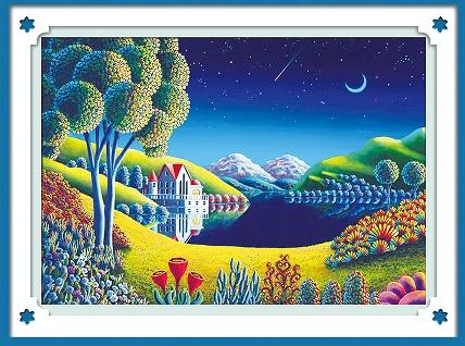 New!Night view of the villa DIY 5D diamond mosaic diamond painting cross stitch suite diamond embroidery home decoration