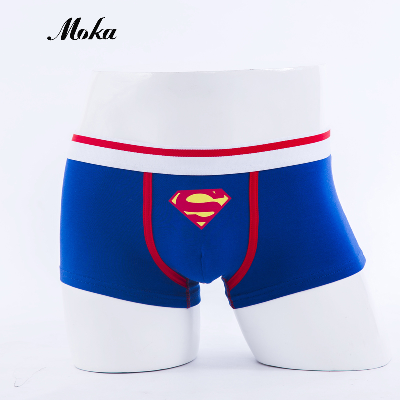 Superman Combed Cotton Breathable Low-waist Men Underwear Marval Cartoon Men Cueca Boxer Hombre Student Sexy Movie Men Underwear