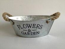 10 개/몫 D23XH9CM 금속 화분 아연 도금 된 꽃 냄비 즙이 많은 재배자 발코니 장식 보트 모양