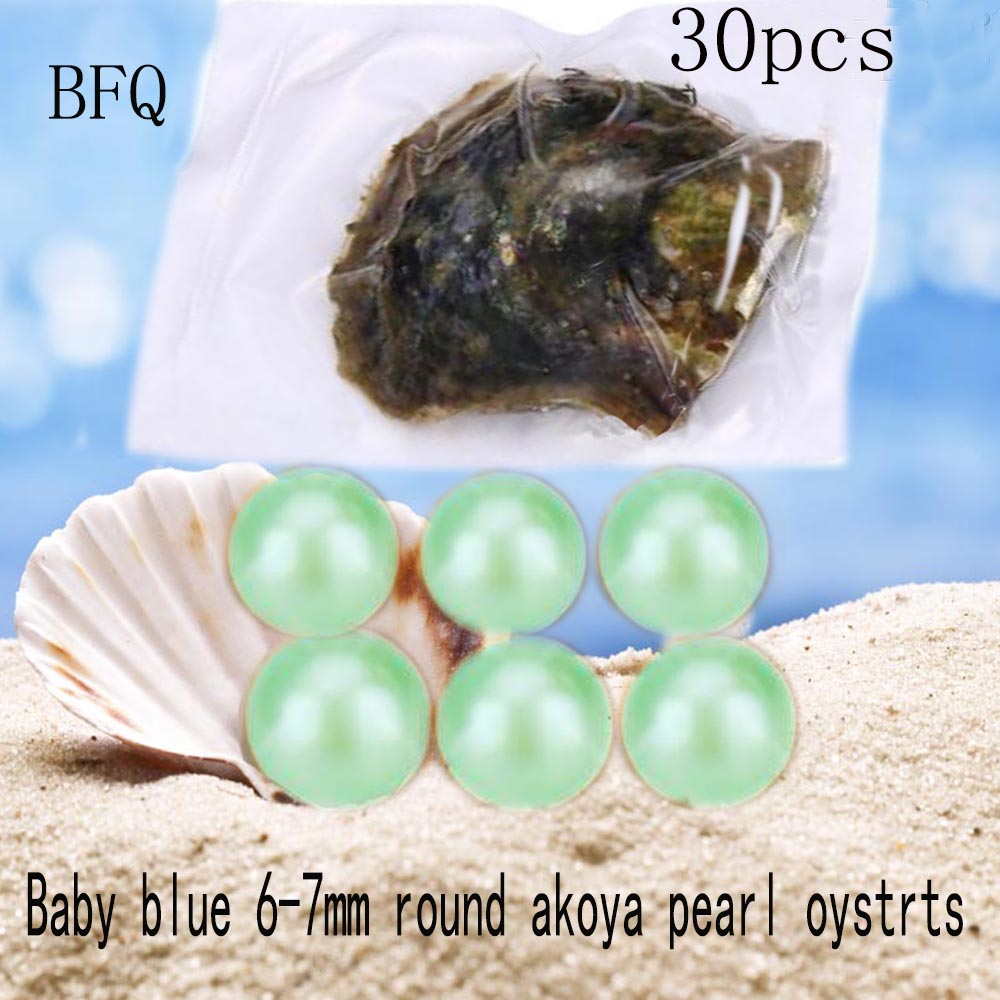 2018 New Real Kehribar Oysters Pearls Bfq Fine Pearl Weddings Light 6-7mm Round Akoya In And Vacuum-packing 30pcs Free Shipping
