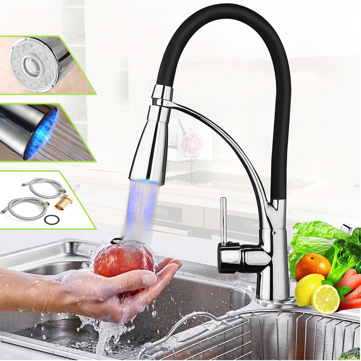 Chrome Kitchen Sink Faucet Pull Out Sprayer Single Hand Mixer Tap ...