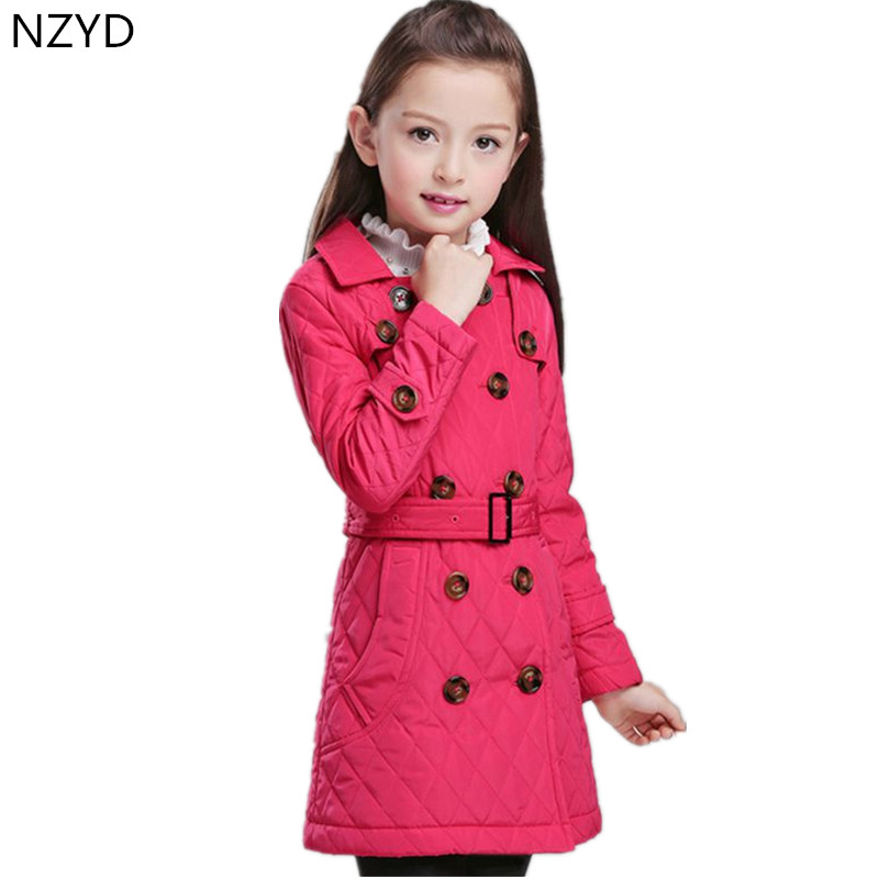New Fashion Autumn Winter Girl Cotton-Padded Clothes Thicken Warm Long Sections Trench Coat High-end Elegant Kids Clothes DC548 цены онлайн
