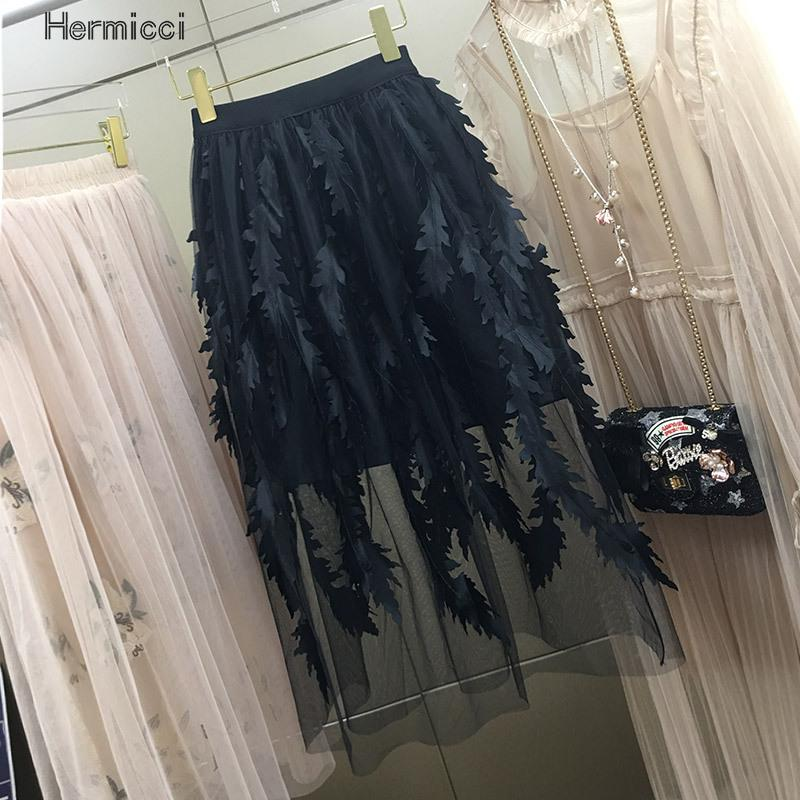 2017 New Vinatge Women Embroidery Skirt Casual A-line Skirts For Ladies Retro Office Work Wear Tulle Skirt Bottoms Girls