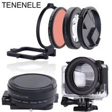 Filtros de cámara deportiva, 58mm, filtro rojo con juego de lentes Macro para GoPro Hero 6/5, filtros de cámara submarinismo negra para Hero 2018