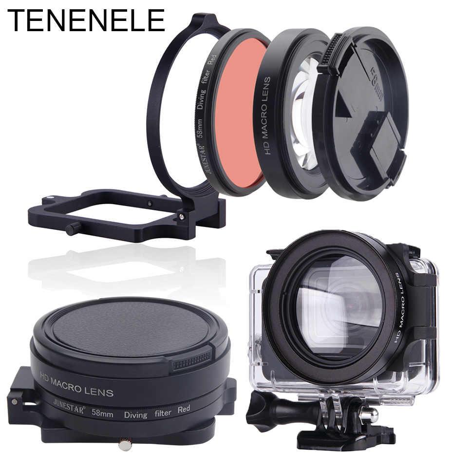 Filtry do aparatów sportowych 58mm filtr czerwony z makro obiektyw zestaw do GoPro Hero 6/5 czarny do nurkowania podwodne kamery filtry dla Hero 2018