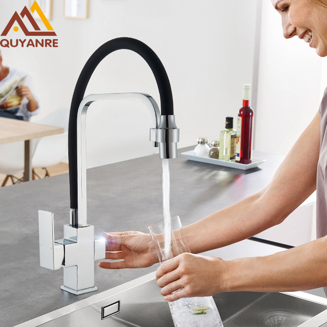 Quyanre Purifier Filtered Kitchen Faucet Filtered Water Kitchen Tap Pull Out 3-way Single Handle Mixer Tap Purification Mixer