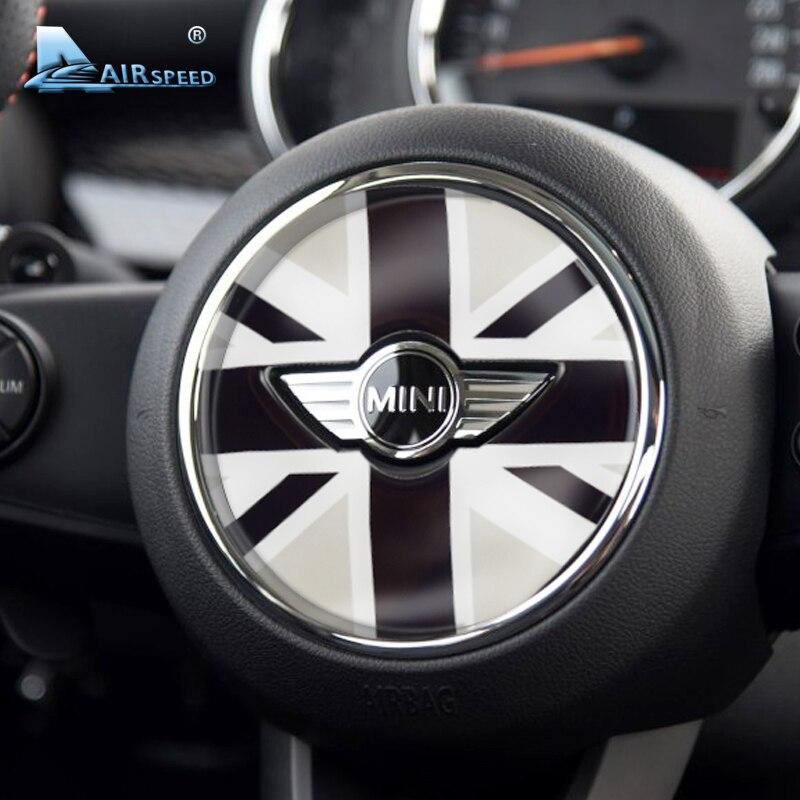 Fluggeschwindigkeit Auto Lenkrad Aufkleber Deckt Union Jack Emblem Aufkleber für Mini Clubman F54 F55 F56 Countryman F60 Auto-styling