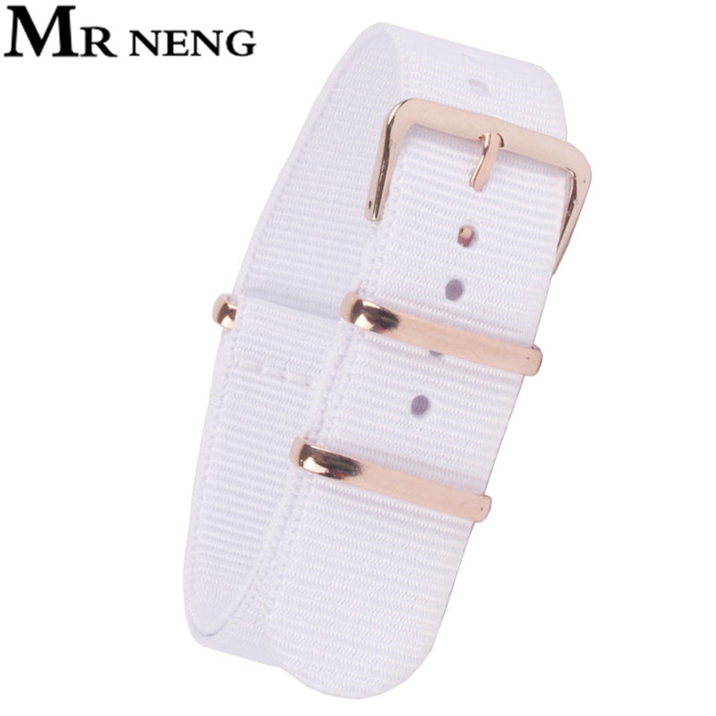 MR NENG Brand Watchband 18mm 20mm 22mm High Quality NATO Nylon Wach Band Rose Gold Buckle White Color Watch Strap Available