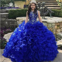 Royal Blue Organza Quinceanera Dresses 2019 Beads Crystal Cascading Ruffles Ball Gown Sweet 16 Prom Dress Vestidos De 15 Anos