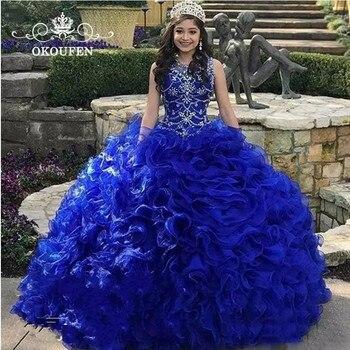 d509b5b49 Vestidos De Quinceañera De Organza azul real 2019 cuentas De cristal con  volantes vestido De baile dulce 16 Vestidos De fiesta De 15 Anos