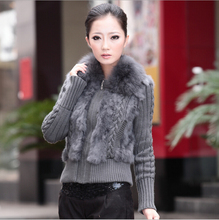 12 Colors Autumn Winter Knitted Women Cardigan Sweater With Fox Fur Collar Plus Size Women Clothing 4XL SH-10
