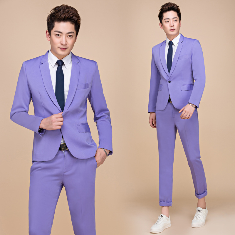 PYJTRL M-5XL Tide Men Colorful Fashion Wedding Suits Plus Size Yellow Pink Green Blue Purple Suits Jacket and Pants Tuxedos