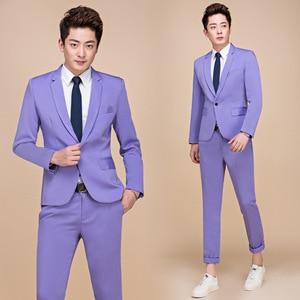 Image 5 - PYJTRL M 5XL Tide Men Colorful Fashion Wedding Suits Plus Size Yellow Pink Green Blue Purple Suits Jacket and Pants Tuxedos