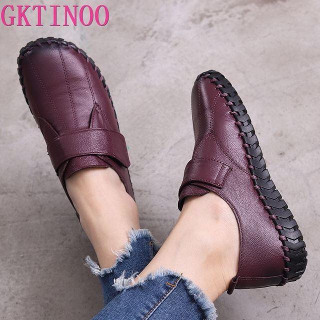 GKTINOO printemps dames en cuir véritable à la main chaussures femmes crochet & boucle chaussures plates femmes 2020 automne doux mocassins chaussures plates