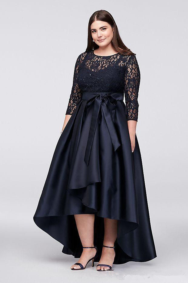 Plus Size 2019 Mother Of The Bride Dresses A-line 3/4 Sleeves Satin Lace Hi Low Formal Groom Long Mother Dresses For Wedding