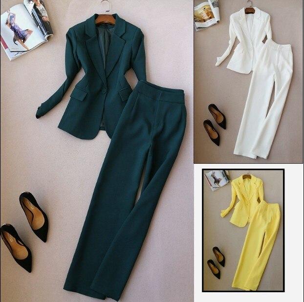 De vert Larges Femmes Pièces Nouveau 2018 Ol Ensemble Pure jaune Blazer Dames Deux Automne Et Blanc Jambes Pantalon Printemps Veste Costume Couleur Carrière px4Sqf