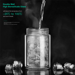 Image 5 - ONEISALL 200ml Glass Water Bottle With Bag High Borosilicate Double Tea Water Bottle Infuser Tumbler Drinkware Smart Bottles