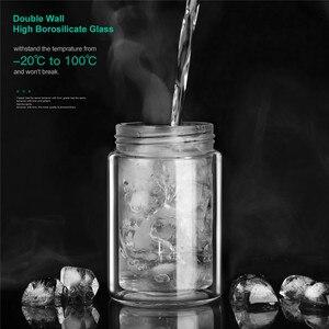 Image 5 - ONEISALL 200ml זכוכית בקבוק מים עם תיק גבוהה בורוסיליקט זוגי תה מים בקבוק Infuser כוס Drinkware חכם בקבוקים