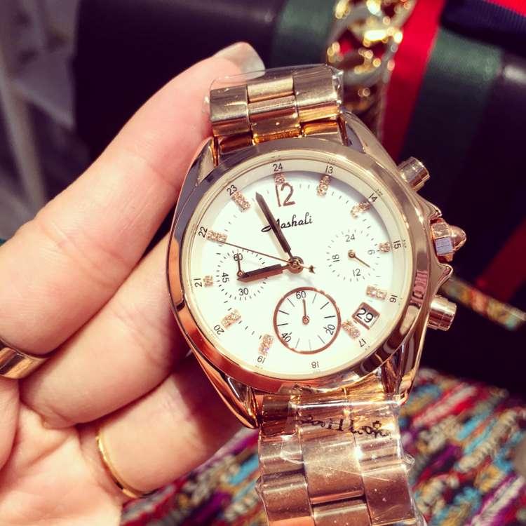 ФОТО New Luxury Women Watch Rose Gold Stainless Steel Quartz Business Clock Ladies Fashion Calender Watches Relogio Feminino OP001