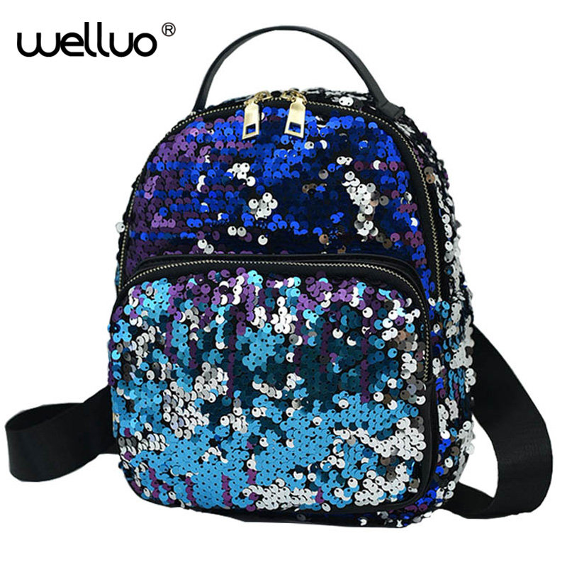 2017 Womens Fashion Cute Girls Sequins Backpack Paillette laser Leisure School Bags New Style bag Colorful