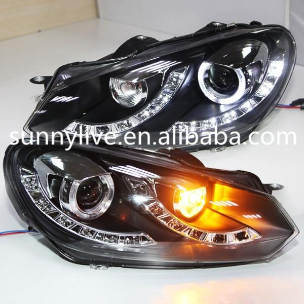 For Vw Golf 6 Led Angel Eyes Head Lights Head Lamp Front-2564