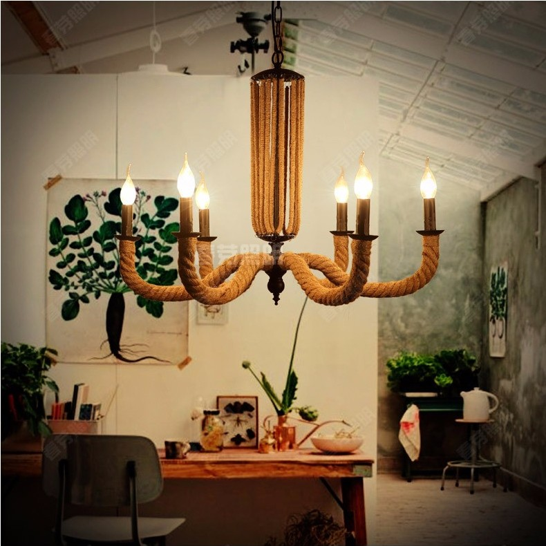 american country style retro minimalist creative personality living room bedroom dining hemp rope octopus candle chandelier american country style font