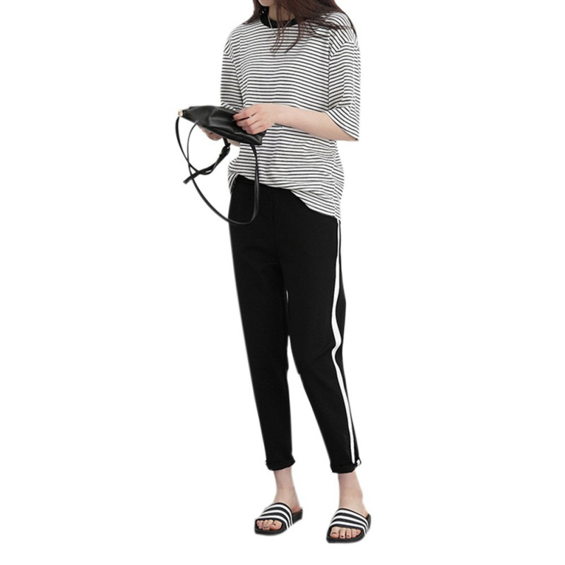 Sexy Women Casual Silm Black Loose Casual Pant High Waist White Striped Stitching Wide Leg Pants Trousers Femme Solid
