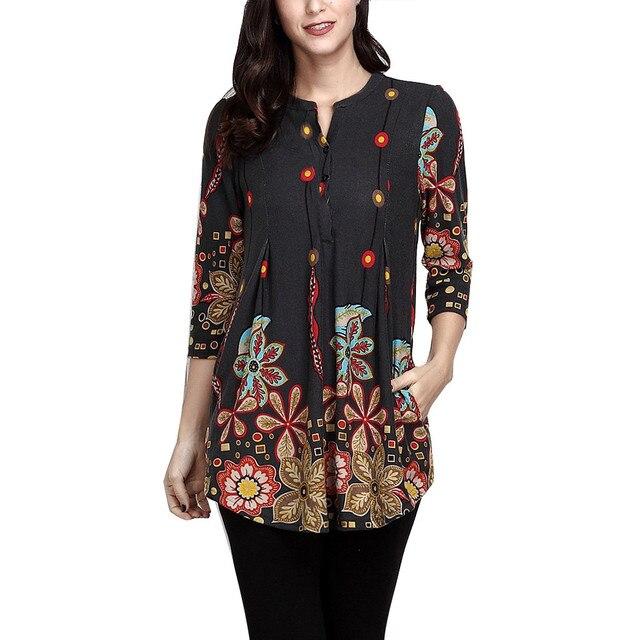 0ba097f0bc5 Plus Size 5XL Womens Tops and Blouses 2018 Vintage Print Pocket Shirts  Feminina Long Sleeve Blouse Tunic Ladies Top Clothes