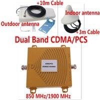 Yeni Çift Bant 3G Mobil Sinyal Booster 850 MHz 1900 MHz GSM CDMA PCS Sinyal Tekrarlayıcı Cep Telefonu Sinyal Amplifikatör Anten ile