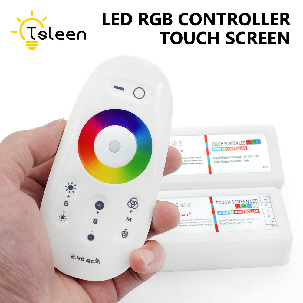 TSLEEN RGBW RGB LED Controler RF Touch Screen 2.4G DC 12-24V Remote Controller Channel For SMD 5050 3528 5730 LED Strip Light