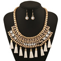 2016 Hot sale Europe Jewelry Set Gold Plated Crystal Tassel Multilayer Clavicle Necklace Earrings Set for Women Party XN-G40