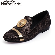 Harpelunde Men Lion Buckle Velvet Loafer Shoes Printed Footwear With Gold Plate Size 6 To 14