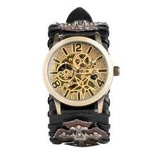 Cool Punk Bracelet Mechanical Watch Mens Automatic Wristwatch Skeleton Tevise Cross Style Water Resistant Men Xmas Gift стоимость
